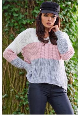 Ružový módny sveter s véčkovým výstrihom pre dámy