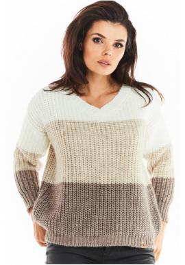 Módny dámsky sveter béžovej farby s véčkovým výstrihom