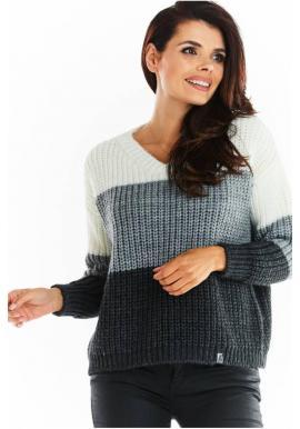 Dámsky módny sveter s véčkovým výstrihom v sivej farbe