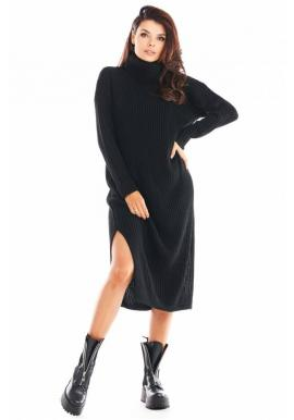Svetrové dámske šaty čiernej farby s rolákom