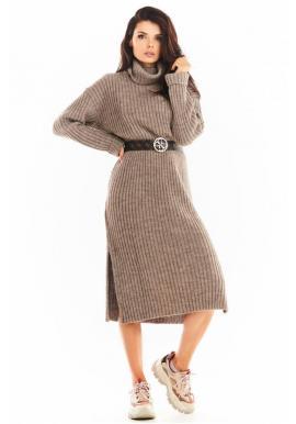 Béžové svetrové šaty s rolákom pre dámy