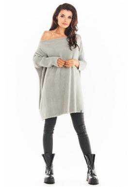 Dámske svetrové šaty s oversize strihom v sivej farbe