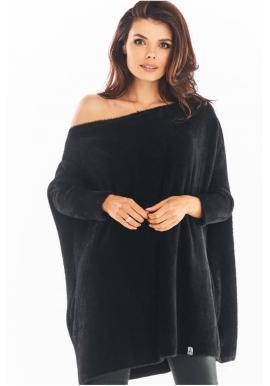 Svetrové dámske šaty čiernej farby s oversize strihom