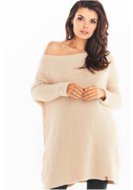Béžové svetrové šaty s oversize strihom pre dámy