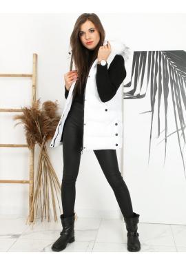 Dámska prešívaná vesta s odopínacou kapucňou v bielej farbe