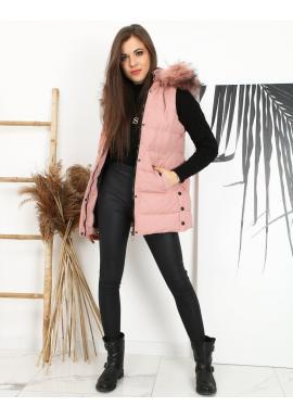 Prešívané dámske vesty ružovej farby s odopínacou kapucňou