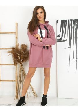Dlhá dámska oversize mikina ružovej farby s potlačou