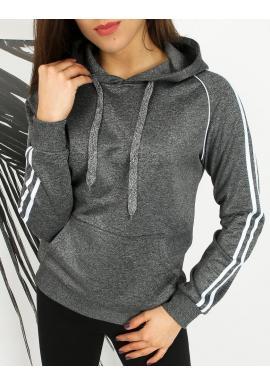 Športová dámska mikina tmavosivej farby s pruhmi