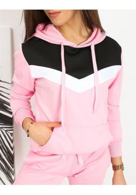 Módna dámska mikina ružovej farby s kapucňou