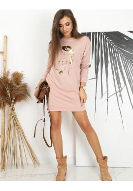 Ružové športové šaty s potlačou pre dámy