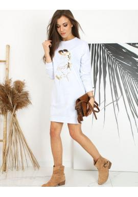 Dámske športové šaty s potlačou v bielej farbe