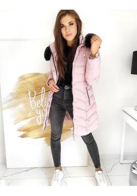 Prešívaná dámska bunda ružovej farby s odopínacou kapucňou