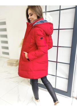 Červená prešívaná bunda s odopínacou kapucňou pre dámy
