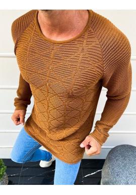 Vzorovaný pánsky sveter hnedej farby s okrúhlym výstrihom