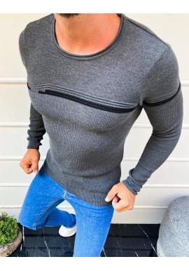 Tmavosivý štýlový sveter s kontrastnými pruhmi pre pánov