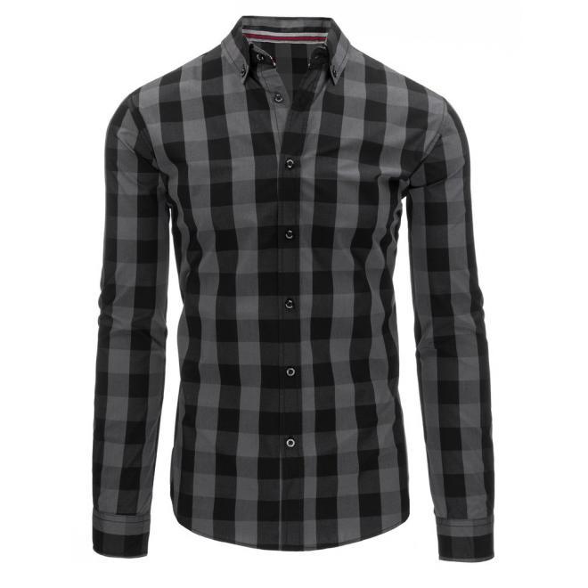 Pánska kockovaná košeľa v modro-čiernej farbe