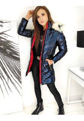 Prešívaná dámska bunda tmavomodrej farby s kapucňou