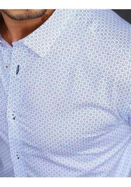 Vzorované pánske košele bielej farby s dlhým rukávom