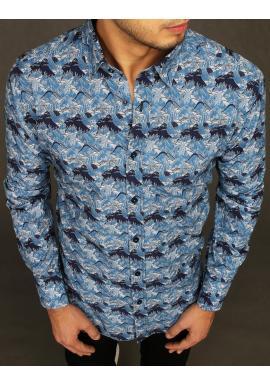 Modrá bavlnená košeľa so vzorom pre pánov