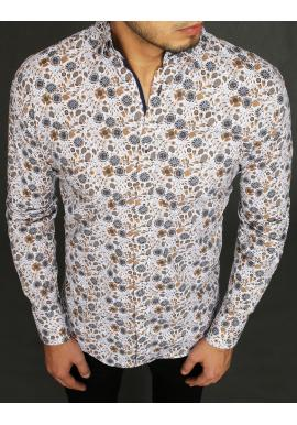 Biela kvetovaná košeľa s dlhým rukávom pre pánov