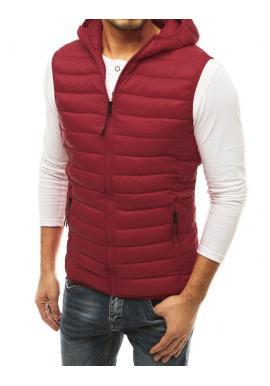 Pánska prešívaná vesta s kapucňou v bordovej farbe