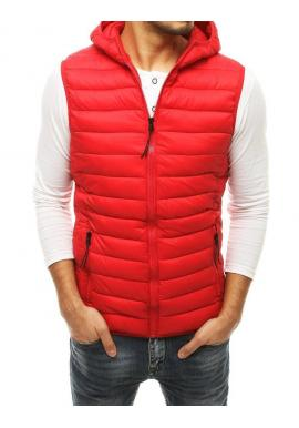 Červená prešívaná vesta s kapucňou pre pánov