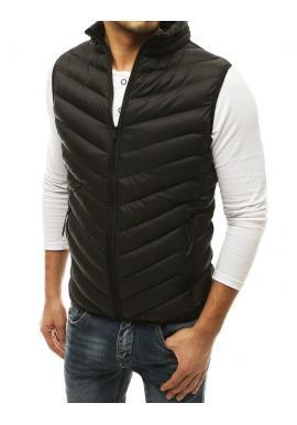 Čierna prešívaná vesta bez kapucne pre pánov