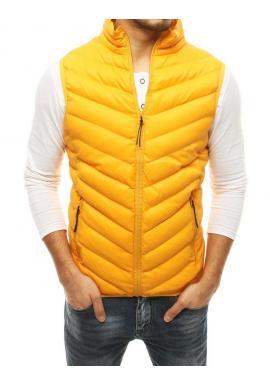 Pánska prešívaná vesta bez kapucne v žltej farbe