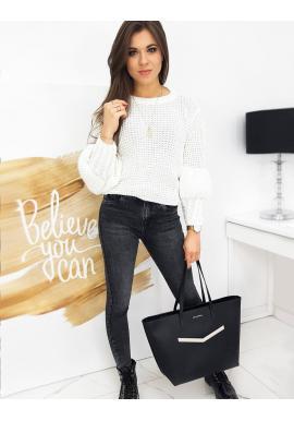 Biely módny sveter s ozdobnými rukávmi pre dámy
