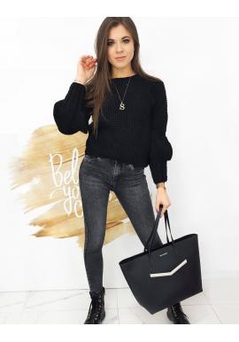 Módny dámsky sveter čiernej farby s ozdobnými rukávmi