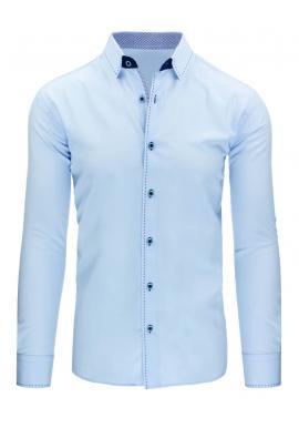 Elegantná biela košeľa s tmavomodrým prešívaním