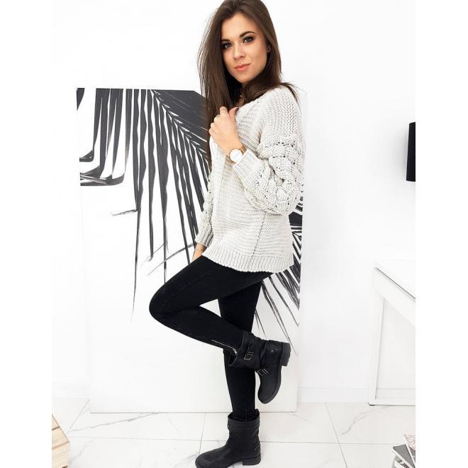 Béžový štýlový sveter s ozdobnými rukávmi pre dámy