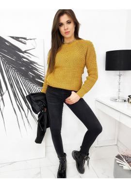 Dámsky akrylový sveter s aplikáciou v hnedej farbe