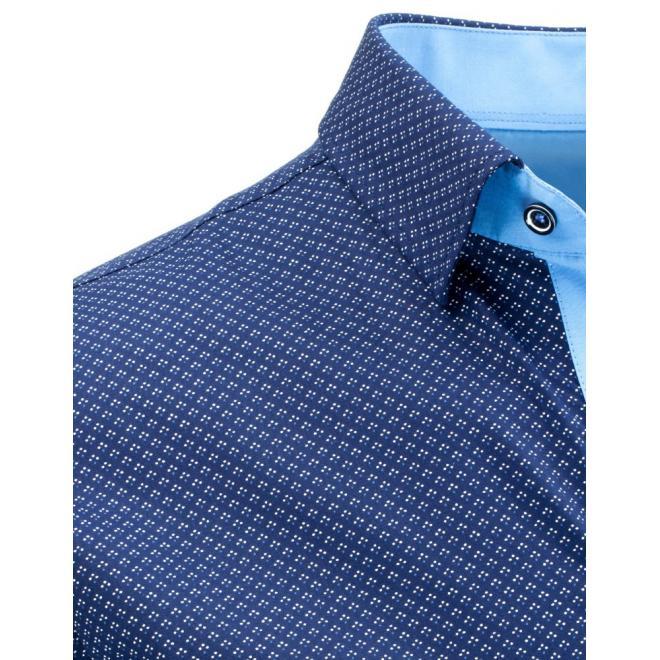 Vzorovaná pánska košeľa tmavomodrej farby