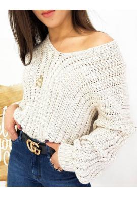 Dámsky teplý sveter s véčkovým výstrihom v béžovej farbe
