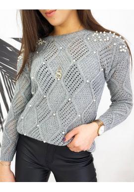 Svetlosivý ažúrový sveter s perlami pre dámy