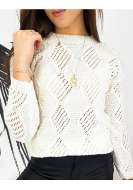 Ažúrový dámsky sveter bielej farby s perlami