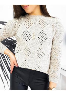 Dámsky ažúrový sveter s perlami v béžovej farbe