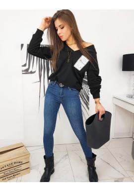 Voľná dámska mikina čiernej farby s véčkovým výstrihom