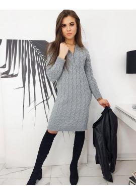 Sivé pletené šaty so zapínaným výstrihom pre dámy
