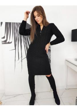 Dámske pletené šaty so zapínaným výstrihom v čiernej farbe