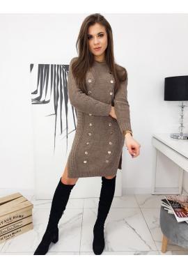 Dámske pletené šaty s ozdobnými gombíkmi v hnedej farbe