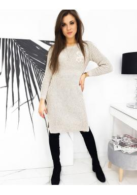 Dámske svetrové šaty s kvetovanou ozdobou v béžovej farbe