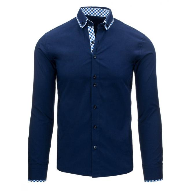 Košeľa modrej farby pre pánov so vzorovaným detailom