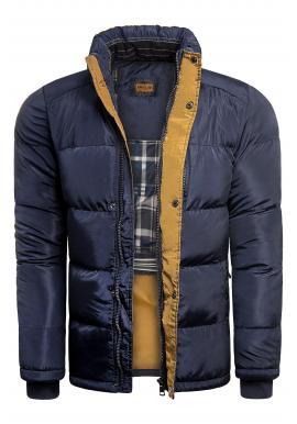 Zimná pánska bunda tmavomodrej farby s kapucňou