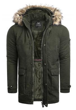 Kaki zimná bunda s dlhším strihom pre pánov