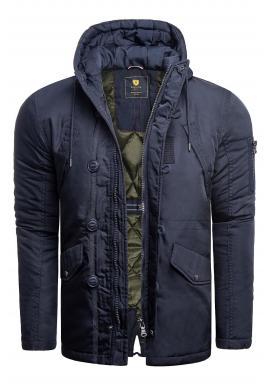 Modrá zimná bunda s kapucňou pre pánov