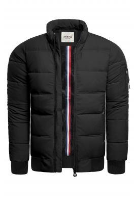 Pánska teplá bunda na zimu v čiernej farbe