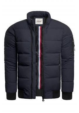 Teplá pánska bunda tmavomodrej farby na zimu
