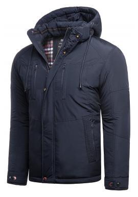 Zimné pánske bundy tmavomodrej farby s kapucňou